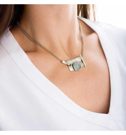 Srebrny naszyjnik MOTYLE antyczna szarość kamień naturalny agat