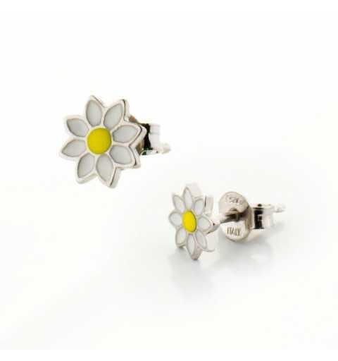 Srebrne dziecięce kolczyki kwiatki stokrotki