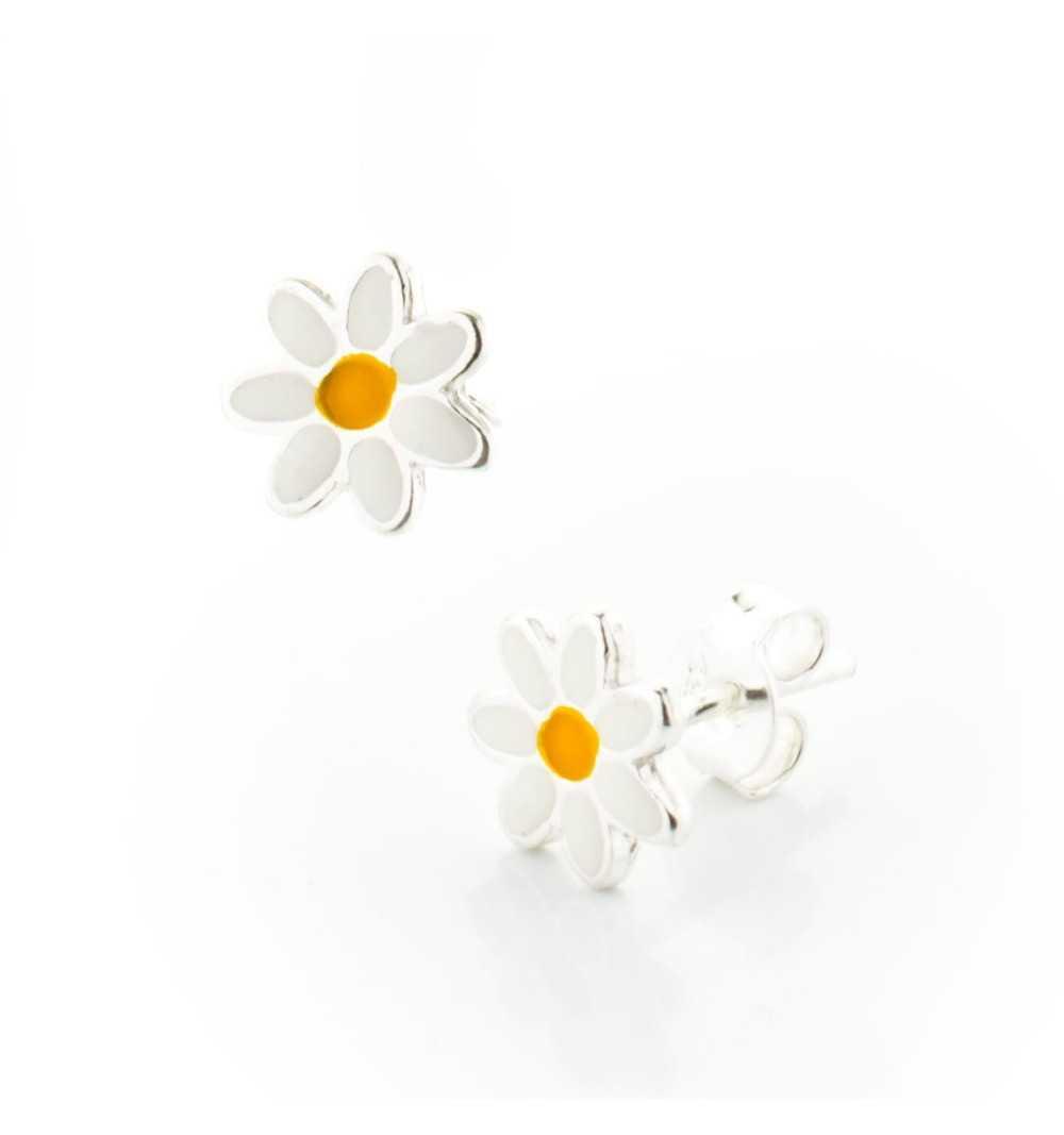 Srebrne dziecięce kolczyki kwiatuszki