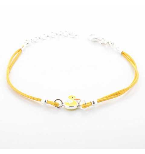 Żółta dziecięca srebrna bransoletka z kaczuszką