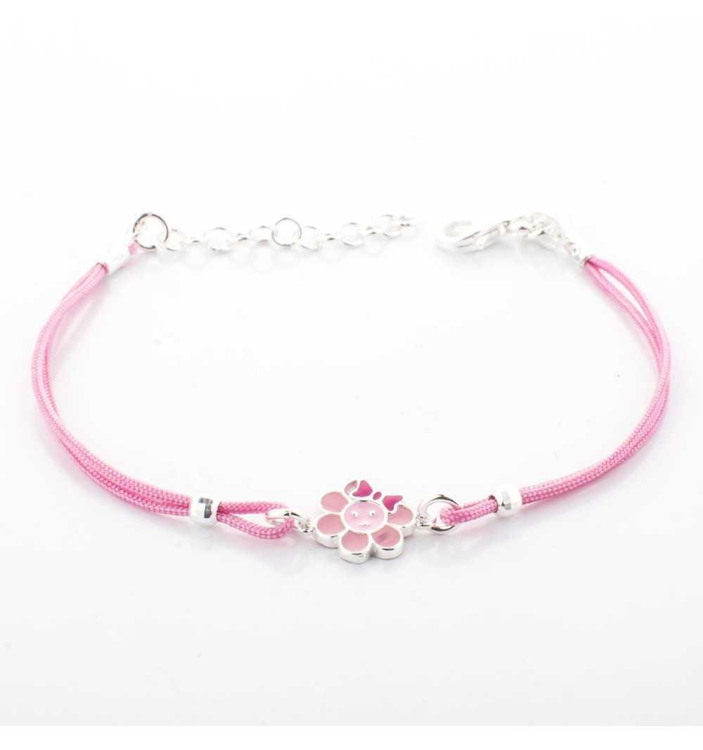 Różowa dziecięca srebrna bransoletka z kwiatkiem