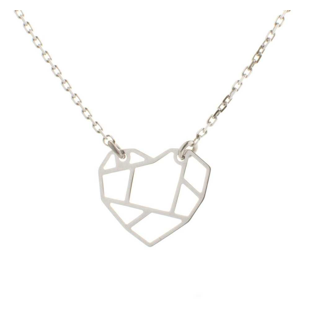 Srebrny naszyjnik serce origami