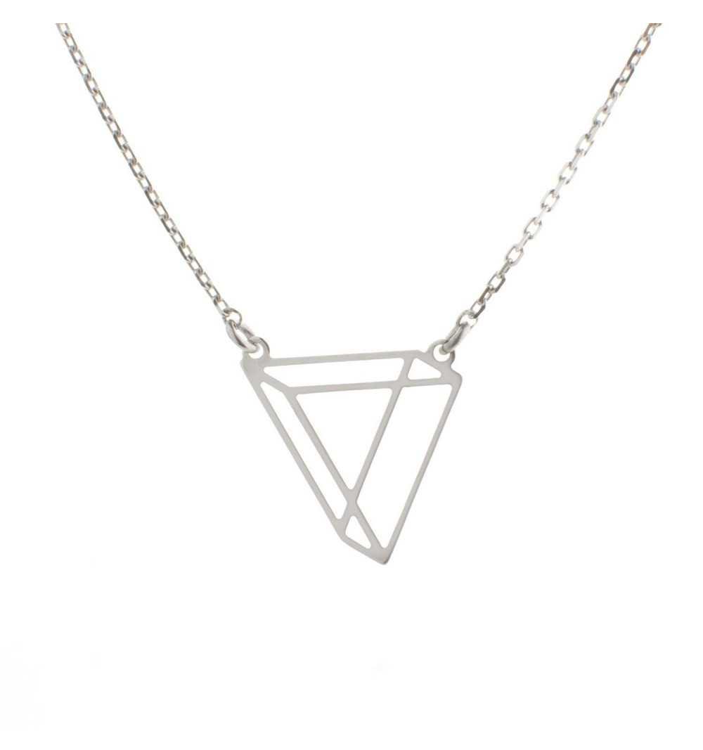 Srebrny naszyjnik trójkąt origami