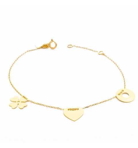 Złota bransoletka z koniczyną, sercem i kółkiem