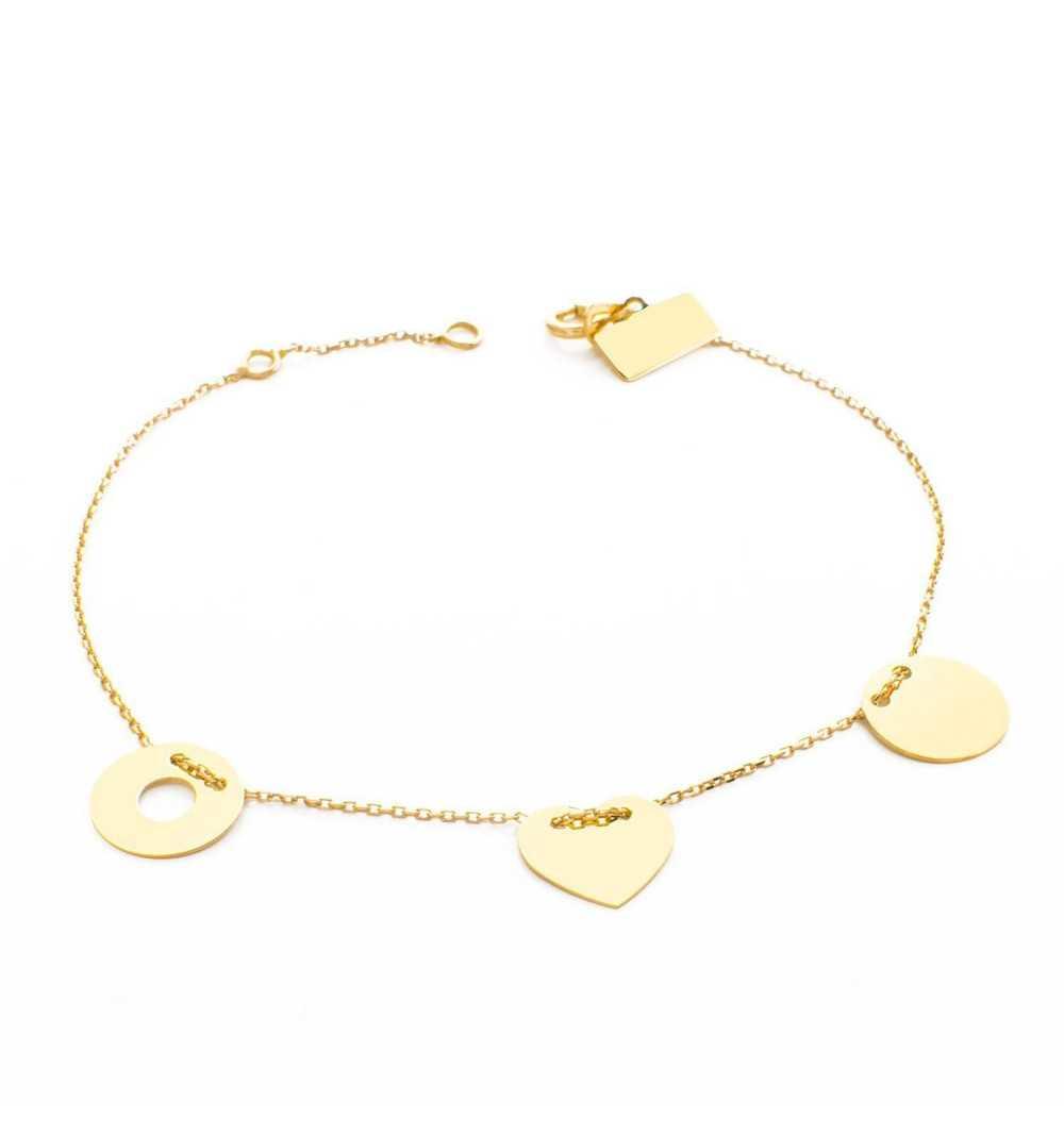 Złota bransoletka z kółkiem, sercem i podkładką