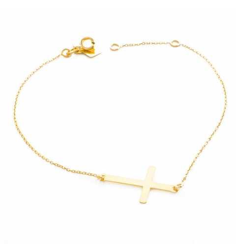 Złota bransoletka krzyżyk