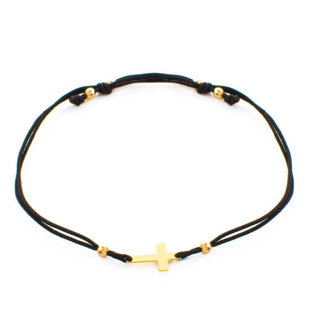 Złota bransoletka z krzyżykiem na czarnym sznurku