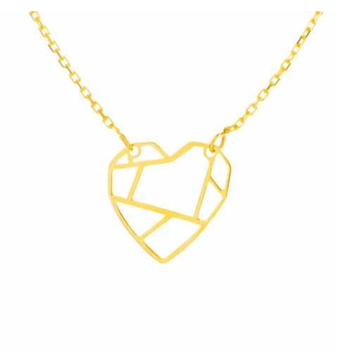 Złoty naszyjnik celebrytka z sercem
