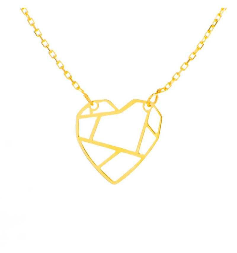 Złoty naszyjnik celebrytka z sercem origami