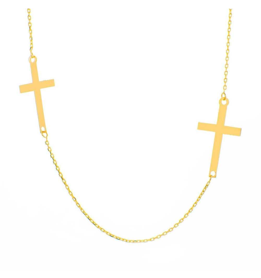 Złoty naszyjnik celebrytka z krzyżykiem