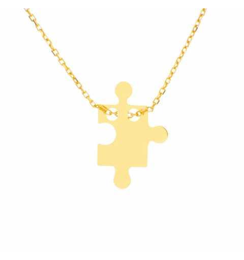 Złoty naszyjnik celebrytka z puzzlem