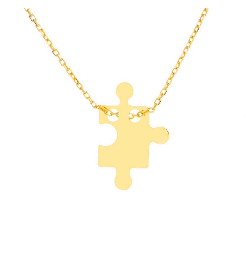 Złoty naszyjnik celebrytka z puzlem