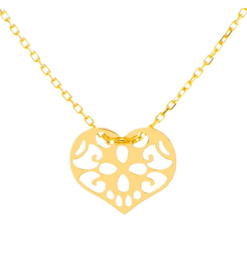Złoty naszyjnik celebrytka z ornamentowym sercem