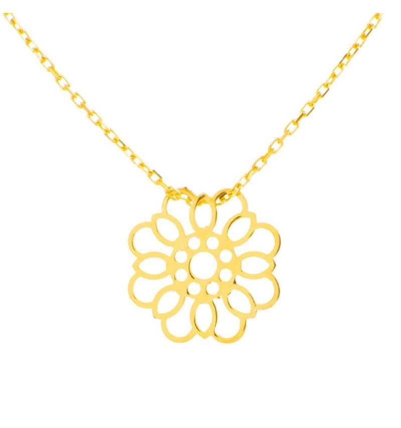 Złoty naszyjnik celebrytka z ornamentowym kwiatkiem