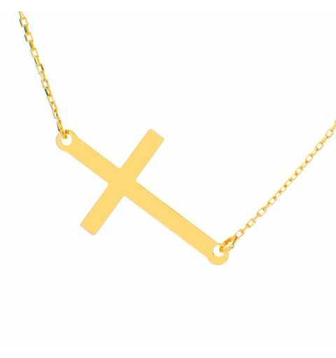 Złoty naszyjnik długa celebrytka z krzyżykiem