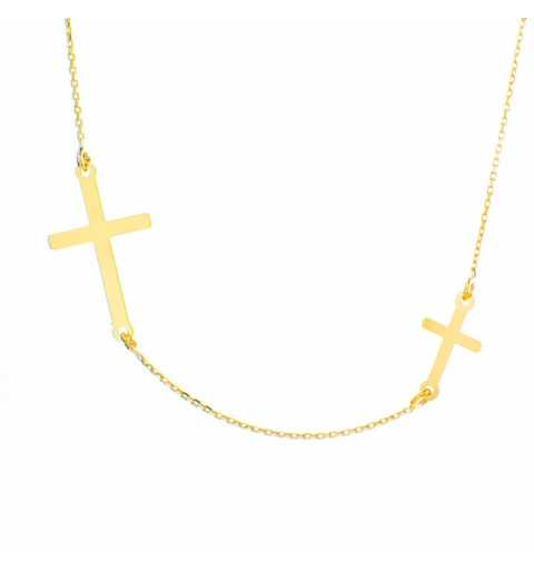 Złoty naszyjnik celebrytka z krzyżykami