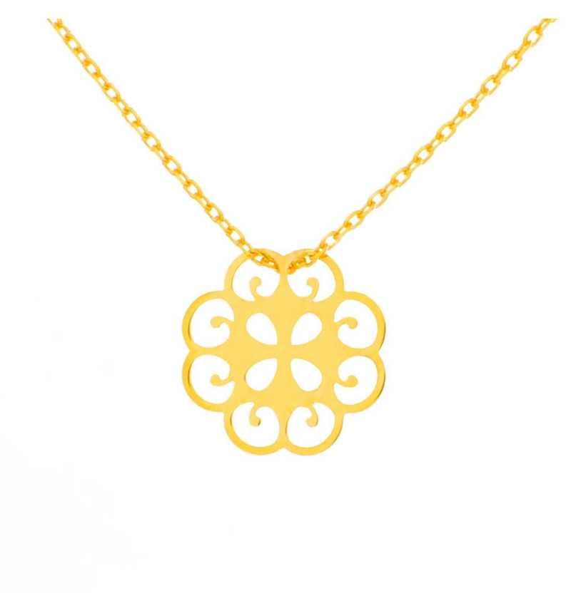 Złoty naszyjnik celebrytka ornamentowy kwiatuszek