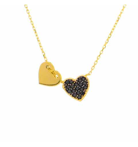 Złoty naszyjnik celebrytka z sercem wysadzanym czarnymi cyrkoniami