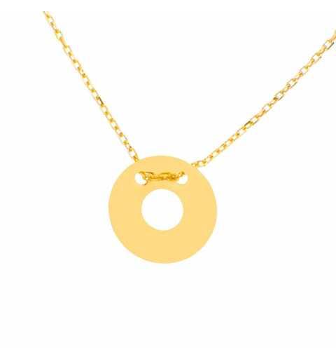 Złoty naszyjnik celebrytka kółko z dziurką