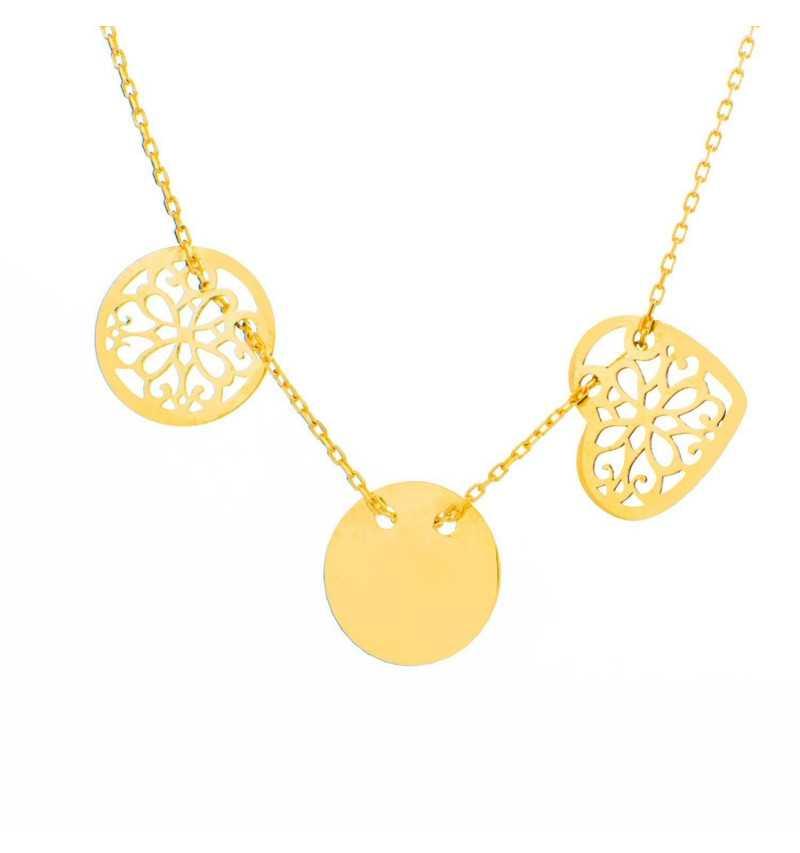 Złoty naszyjnik celebrytka ażurowe serce i koła