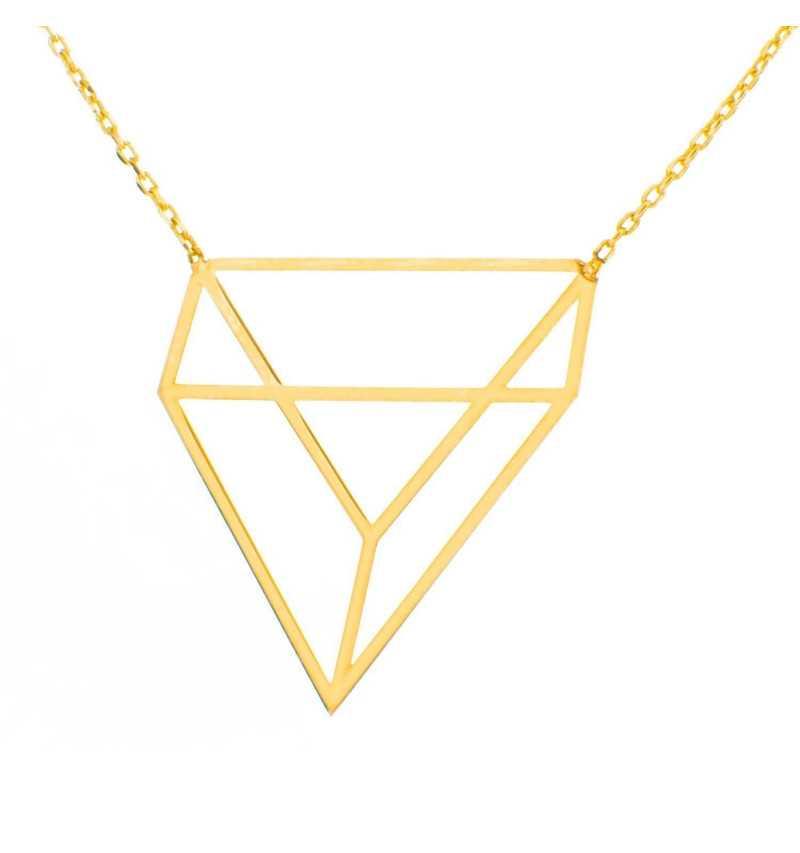 Złoty naszyjnik geometryczny trójkąt origami