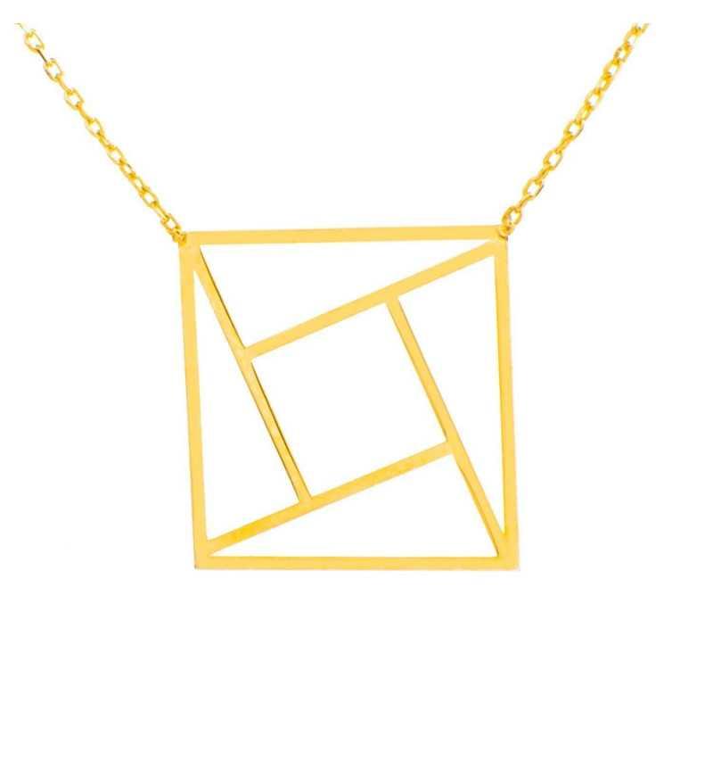 Złoty naszyjnik celebrytka kwadrat origami