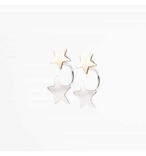 Pozłacane srebrne kolczyki gwiazdki z zapięciem za ucho