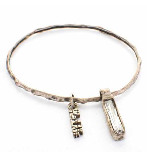 Srebrna bransoletka MOTYLE grafitowy blask (czarny rod) z kryształem Swarovskiego