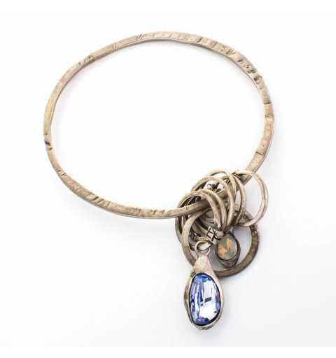 Srebrna bransoletka MOTYLE grafitowy blask (czarny rod 24 k) z kryształem Swarovskiego Blue Shade
