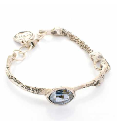 Srebrna bransoletka MOTYLE antyczne srebro oksydowana z kryształem Swarovskiego Silver shade M3269