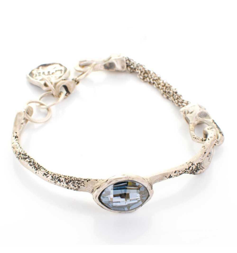 Srebrna bransoletka MOTYLE antyczne srebro oksydowana z kryształem Swarovskiego Silver shade