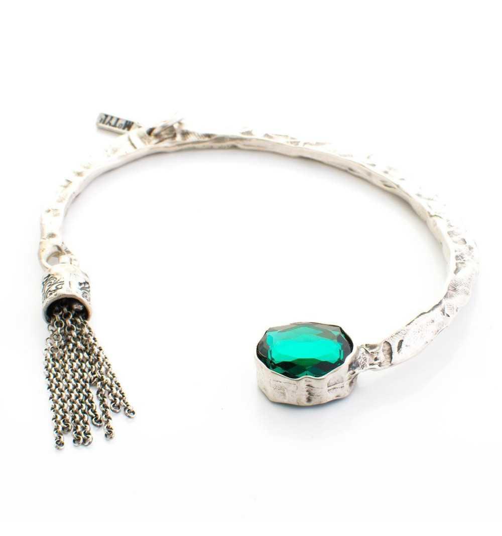 """Srebrna bransoletka MOTYLE antyczne srebro oksydowana z kryształem Swarovskiego """"Emerald"""""""