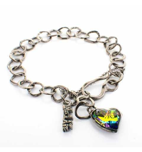Srebrna bransoletka MOTYLE grafitowy blask (czarny rod 24 k) z kryształem Swarovskiego Multicolor