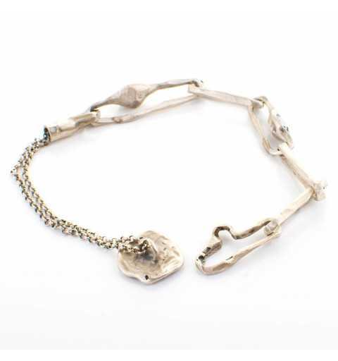 Srebrna bransoletka MOTYLE antyczne srebro oksydowana z kryształami Swarovskiego Rose Patina, Blue Shade