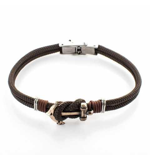 Męska stalowa bransoletka z kotwicą na brązowym sznurku