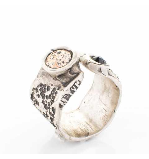 Srebrny pierścionek MOTYLE antyczne srebro oksydowany z kryształami Swarovskiego SILVER SHADE