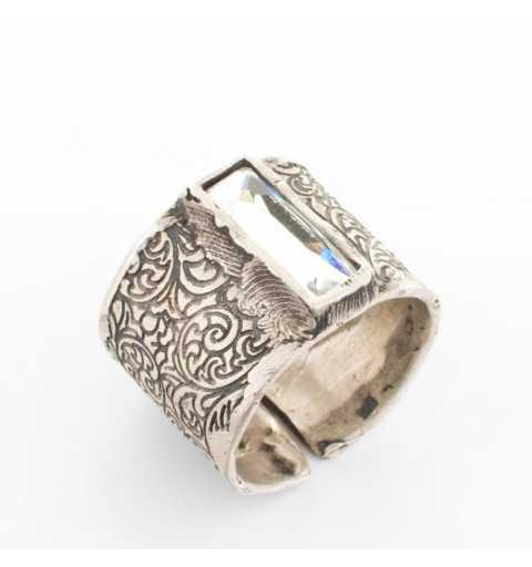 """Srebrny pierścionek MOTYLE antyczne srebro oksydowany z Kryształem Swarovskiego """"Crystal"""" M5473"""