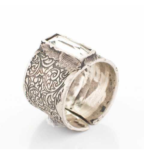 """Srebrny pierścionek MOTYLE antyczne srebro oksydowany z Kryształem Swarovskiego """"Crystal"""""""