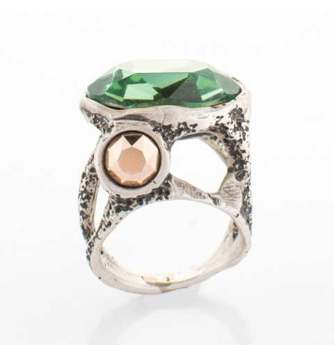 Srebrny pierścionek MOTYLE antyczne srebro oksydowany z Kryształami Swarovskiego ERNITE, ROSE GOLD