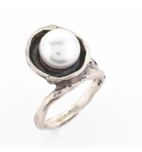 Srebrny pierścionek MOTYLE antyczne srebro oksydowany z PERŁĄ SŁODKOWODNĄ