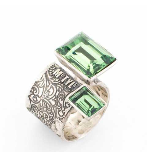 """Srebrny pierścionek MOTYLE antyczne srebro oksydowany z zielonymi kryształami Swarovskiego """"Ernite"""""""
