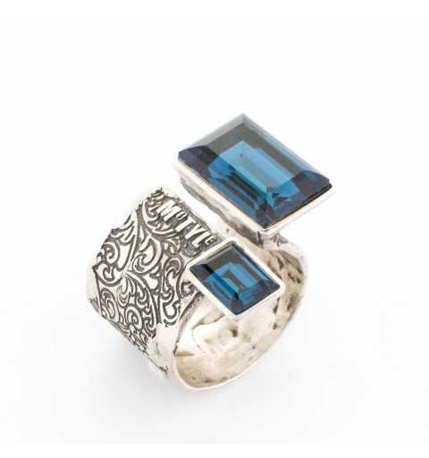 """Srebrny pierścionek MOTYLE antyczne srebro oksydowany z niebieskimi kryształami Swarovskiego """"Montana"""""""