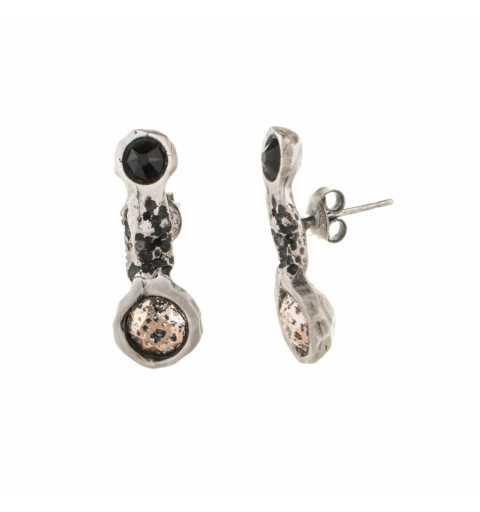 Srebrne kolczyki MOTYLE antyczne srebro oksydowany z kryształami Swarovskiego SILVER SHADE