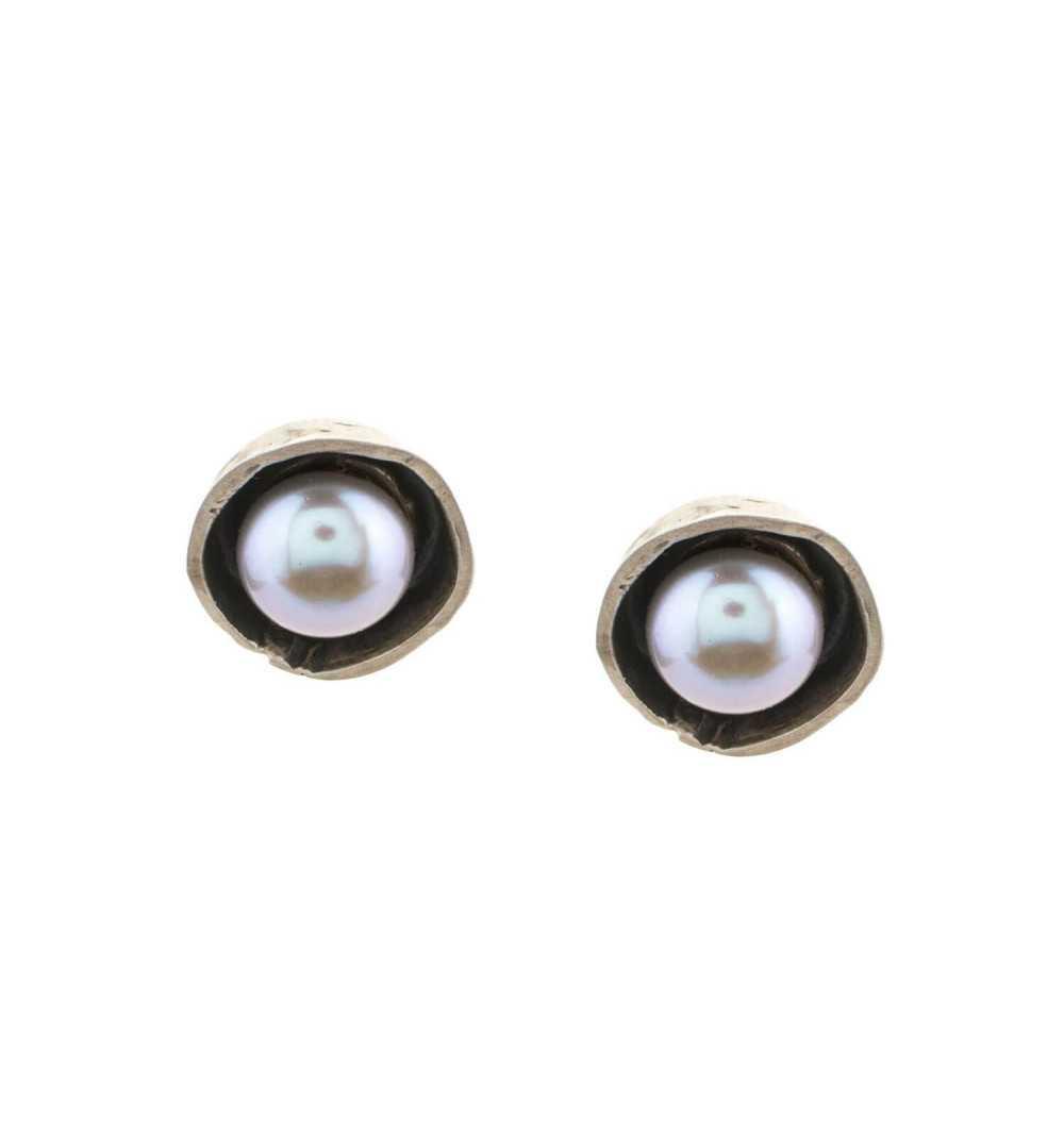 Srebrne kolczyki MOTYLE antyczne srebro oksydowane z perłą słodkowodną