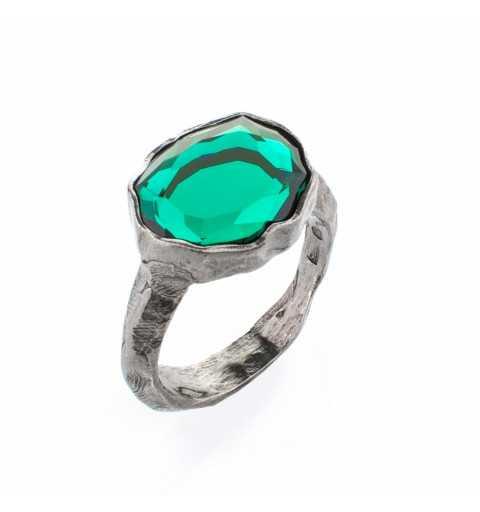 Srebrny pierścionek MOTYLE czarny rod 24 k grafitowy blask z zielonym Kryształem Swarovskiego Emerald MR5521
