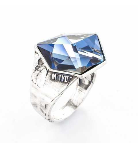 Srebrny pierścionek MOTYLE antyczne srebro oksydowane z Kryształem Swarovskiego Crystal Sahara