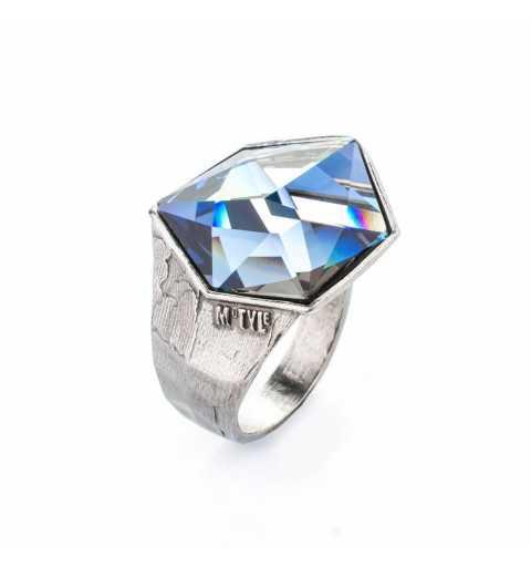 Srebrny pierścionek MOTYLE czarny rod 24 k grafitowy blask z Kryształem Swarovskiego Crystal Sahara MR5524