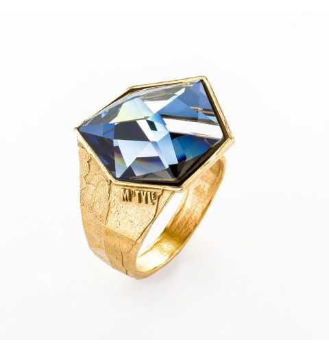 Srebrny pierścionek MOTYLE złocony królewskim złotem 24 k z Kryształem Swarovskiego Crystal Sahara MG5524