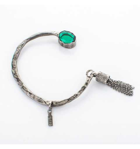 Srebrna bransoletka MOTYLE czarny rod 24 k grafitowy blask z zielonym Kryształem Swarovskiego Emerald