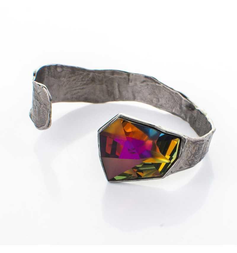 Srebrna bransoletka MOTYLE grafitowy blask (czarny rod) z kryształem Swarovskiego VOLCANO